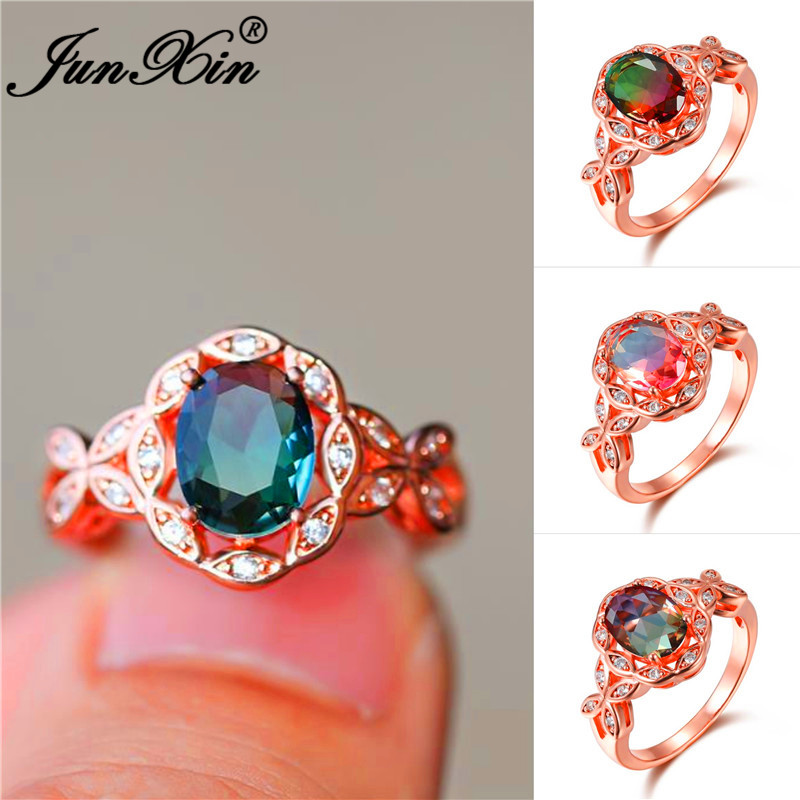 Wedding-Rings Crystal-Stone Colorful Jewelry Rainbow Butterfly-Flower Rose-Gold Fashion