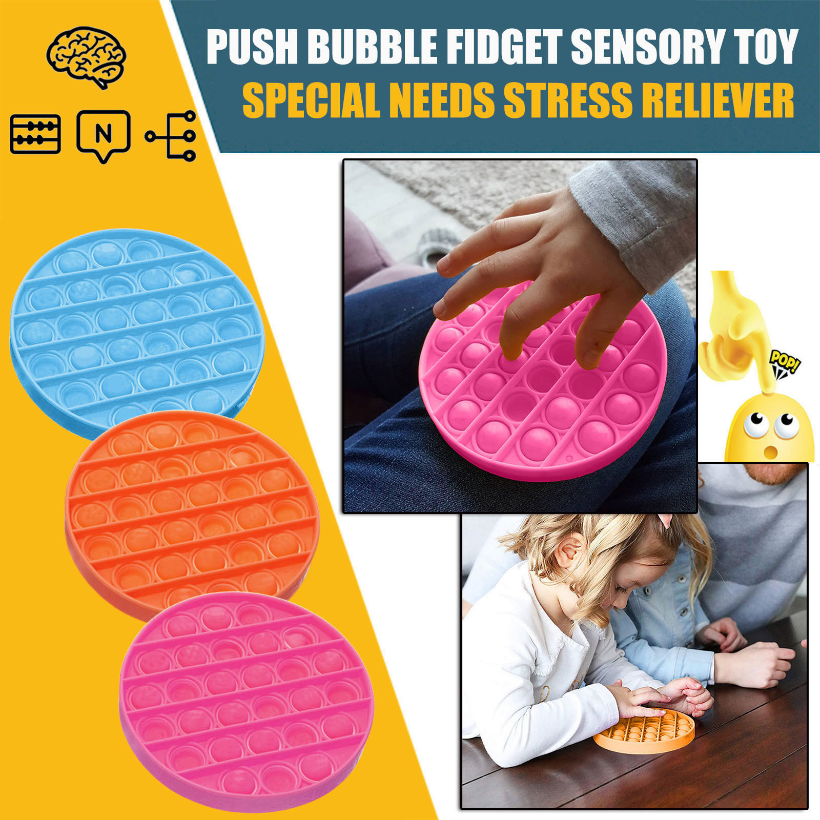 Sensory-Toy Fidget Spinner Autism Needs-Stress Push Bubble Special Children Reliever img2