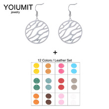 Cremo DIY Stainless Steel Round Earrings Big Fashion Interchangeable Faux Leather Boucle Doreille Femme 2020