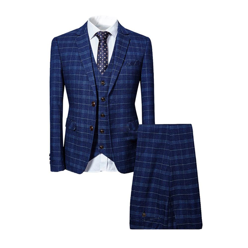 Traje clásico de 3 piezas traje de hombre de negocios fiesta de bodas del novio Casual Blazer Delgado - 2
