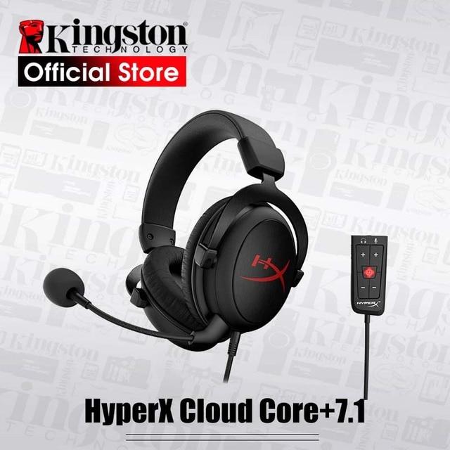 New Kingston HyperX Cloud Core + 7.1 Surroundพร้อมไมโครโฟนProfessional Esportหูฟังหูฟังสีดำ