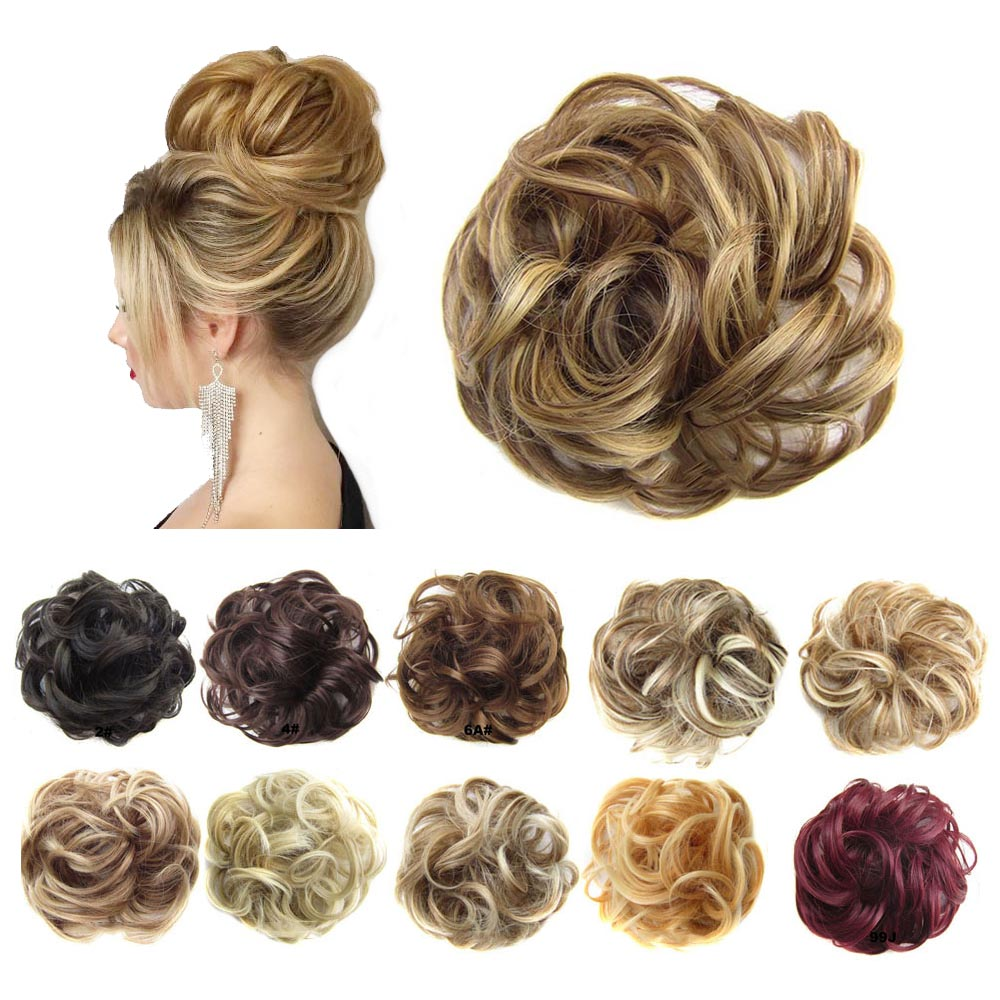 Jeedou Synthetic Hair Chignon Donut Elastic Rope Rubber Band Hair Bun Pad Updos Messy Hairstyle Girl Women's Hair Accessories