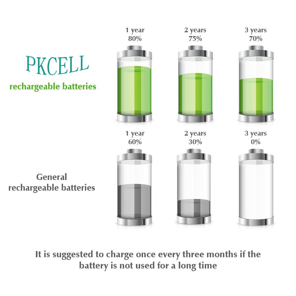 4 шт. PKCELL NIMH AA 1,2 в аккумулятор с низким саморазрядом 2200 мАч аккумуляторные батареи и 1 шт. чехол для батареи AAA или aa nicd