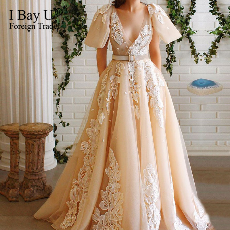 Skin Color Illusion V Neck Party Evening Dress 2020 Tulle Prom Gowns With Lace Embroidery Lace Edge A Line