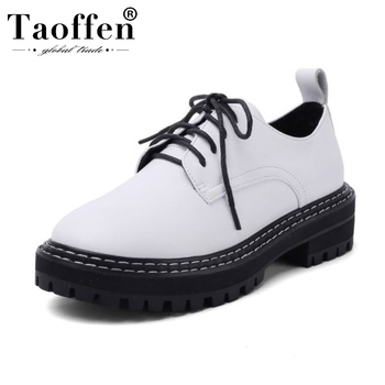Taoffen Real Leather Women Flat Shoes Spring Casual Work Shoes Woman Outdoor Vacation Lace Up Brand Flats Footwear Size 34-41