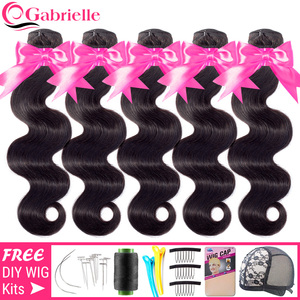 Wholesale Brazilian Body Wave Bundles Human Hair Weave 30 32 34 inch Natural Color Remy Hair Extensions 3-5-10 Pcs Gabrielle