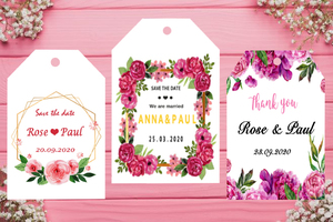 100 PCS, personalized label wedding birthday baby shower gift box hanging label, customize your text, logo, photo