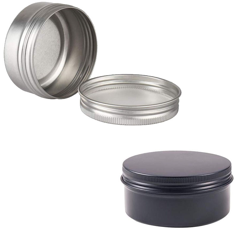 24pcs 50g Metal Aluminum Round Tin Cans Box Silver Empty Cosmetic Cream Jar Pot Case Screw Thread Lid Lip Balm Container