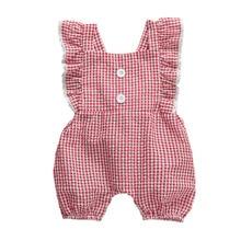 0-24M Newborn Infant Baby Girls Plaid Rompers Ruffles Red Ju