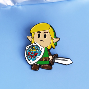 The Legend of Zeldas Link Enamel Pin Cartoons Shield Warrior Brooch Action Adventure Game Fan Collectible Badge Jewelry Gift