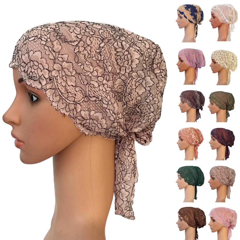 Flower Women Muslim Inner Cap Lace Head Wrap Cover Scarf Islamic Headwear Bonnet Hat   Skullies     Beanies   Hair Loss Fashion