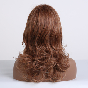 Image 3 - EASIHAIR Brown Medium Length Wave Wigs with Bangs Synthetic Wigs for Black Women High Density Cosplay Wigs Heat Resistant