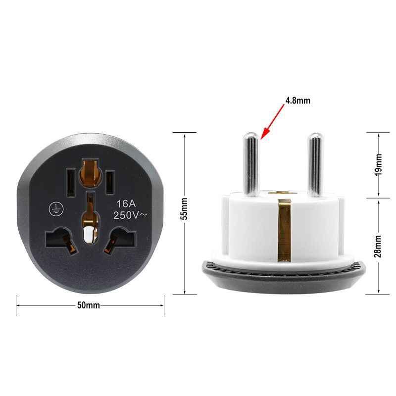 Универсальный Переходник штепсельной вилки европейского стандарта 2 розетка для круглых штырей AU US UK CN в EU настенная розетка AC 16A 250В дорожный адаптер высокого качества