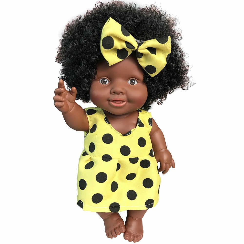 دمية أفريقية لعبة سوداء دمية طفل المنقولة المشتركة لطيف أفضل هدية عيد الميلاد لعب للأطفال طفل تولد من جديد كوربو دي سيليكون إنتيرو
