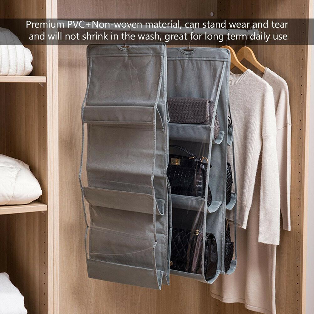 He55bd0f93a4741bdaa28bc4cb38d6e06l - 6 Pocket Foldable Hanging Bag 3 Layers Folding Shelf Bag Purse Handbag Organizer Door Sundry Pocket Hanger Storage Closet Hanger