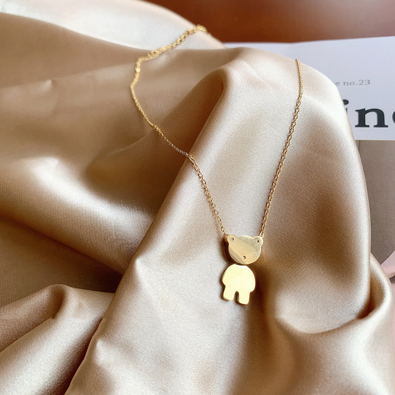 Korean Fashion Simple Titanium Steel Stainless Steel Bear Pendant Necklace Woman Exquisite Wild Clavicle Chain Hip Hop Jewelry