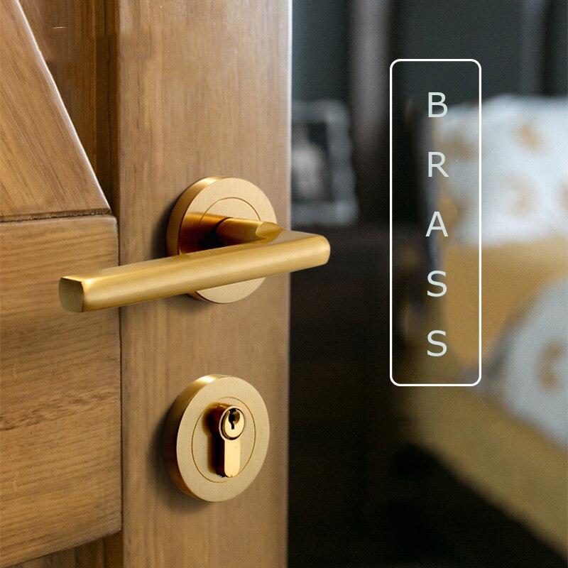 1 ensemble poignée de porte à levier en laiton poignée de porte intérieure de Style américain poignée de porte Simple ronde fendue/siamois serrure de porte ensemble matériel de porte
