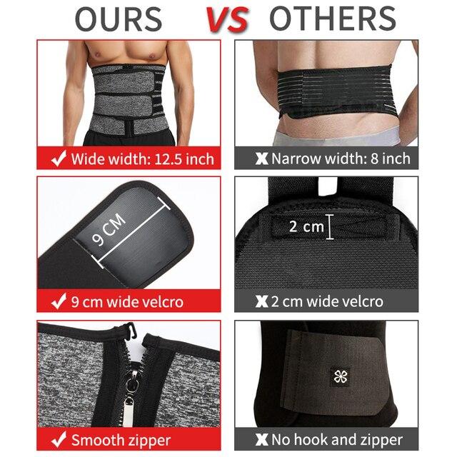 Men Waist Trainer Body Shaper Slimming Belt Support Underwear Sweat Weight Loss Corset Neoprene Sauna Waist Trimmer Belt 3