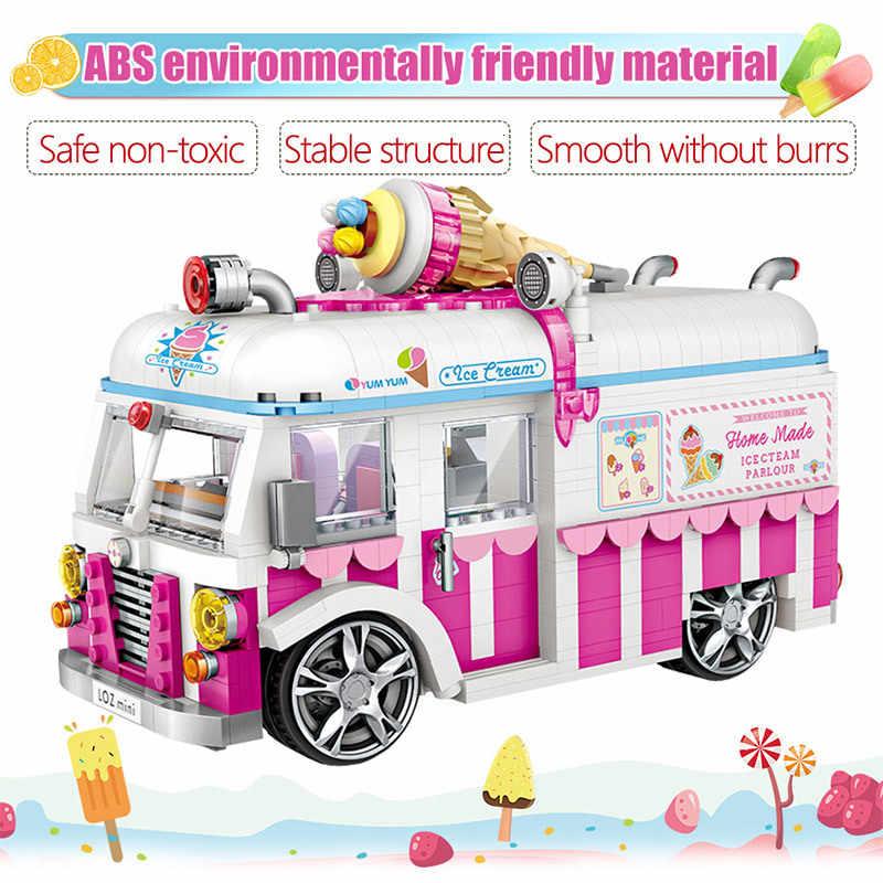 LOZ صغيرة اللبنات شاحنة مثلجات الوردي سيارة كعكة حافلة نماذج من الشاحنات ألعاب تعليمية للفتيات الخالق الأصدقاء 1244 قطعة الطوب