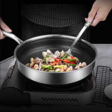New 304 stainless steel frying pan steak frying pan fried frying pan honeycomb non-stick pan gas stove induction cooker induction cooker 15kw high power canteen concave cooker cooktop fry restaurant commercial electric frying stove cooking utensils