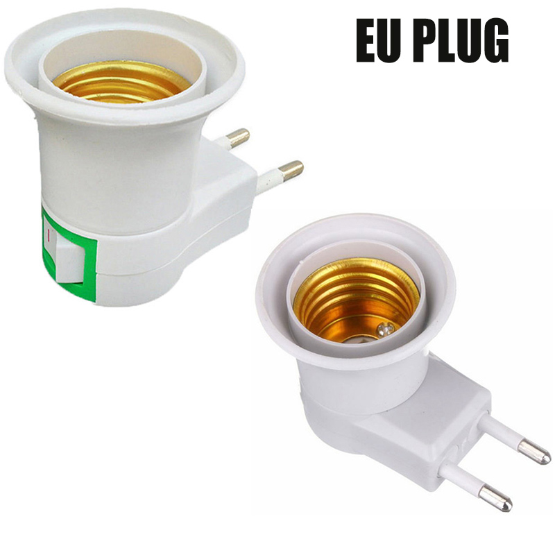 E27 Light Socket To EU//US Plug Holder Adapter Converter For LED CFL Bulb