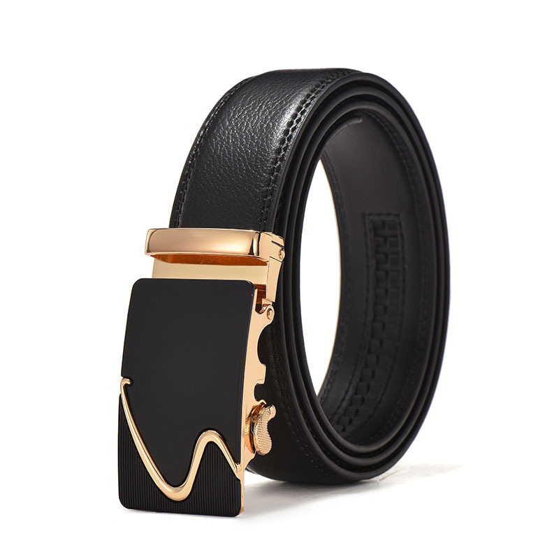 2020 Fashion Brand Leather Belt Business Trouser Strap Pant Ceinture Homme Cowskin Automatic Buckle Cowhide Men Belts
