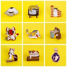 Cartoon Cute Cats Badges for Clothes Lovely Animal Enamel Pins for Jacket Backpacks Lapel Pin Badges Brooch Jewelry Gift leisurely cute cats badges for clothes animal enamel pins for backpacks clothes lapel pin badges for backpack badge jewelry gift