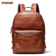 PNDME simple vintage high-quality leather men backpack casual outdoor travel work natural soft cowhide 15.6-inch laptop bagpack