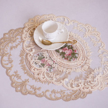1Pcs for Dining Table Embroidery Craft Placemat European Style Lace Insulation Plate Mat Anti-scald Coaster Table pads