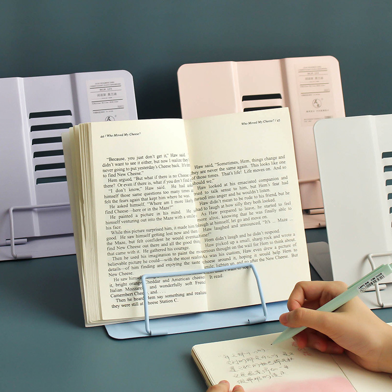 Adjustable Foldable Morandi Color Metal Book Holder Stand For Reading Adjustable Books Stand Kawaii School Office Stationery