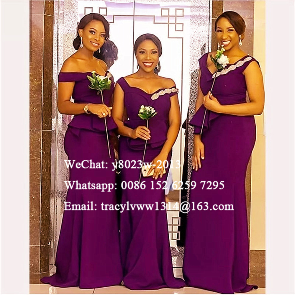Purple Mermaid Bridesmaid Dresses With Beads Off Shoulder African Women Long Wedding Guest Dress Robe Demoiselle D'honneur