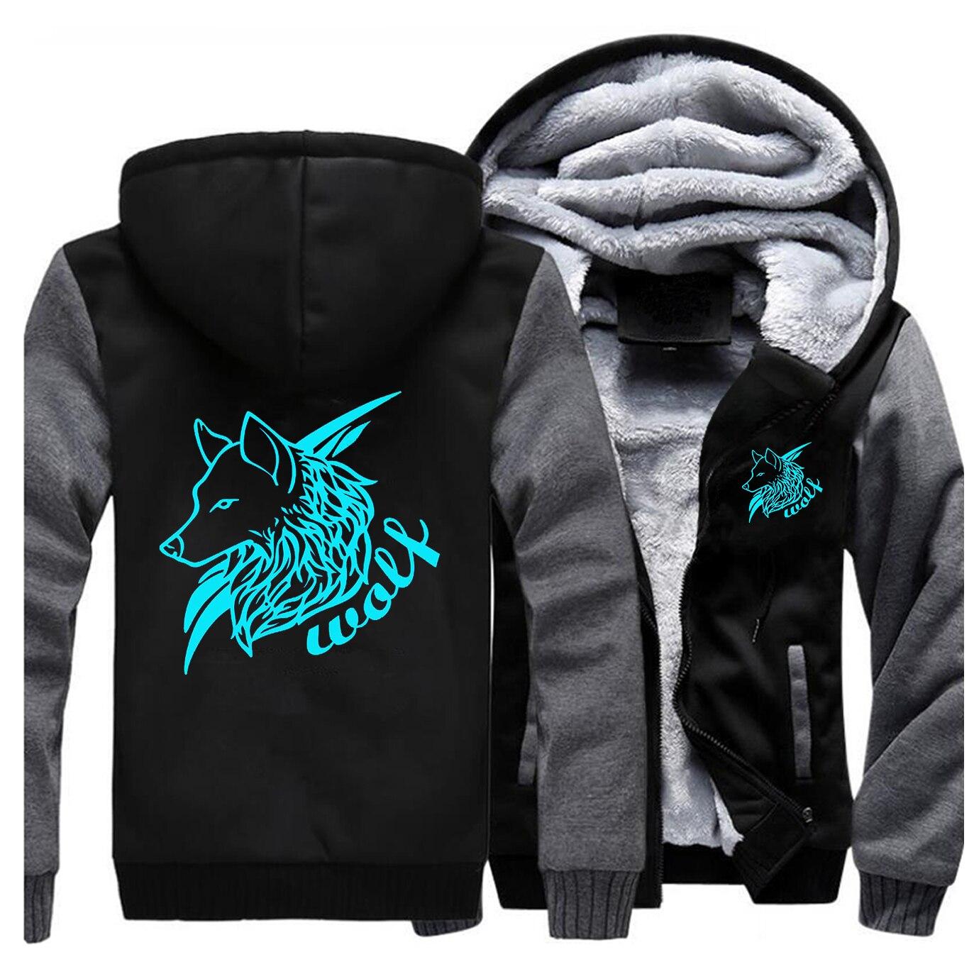 Wolf Moon Sweatshirts Men Winter Fleece Print Thick Hoodies Jacket Hoddie Streetwear Sportswear