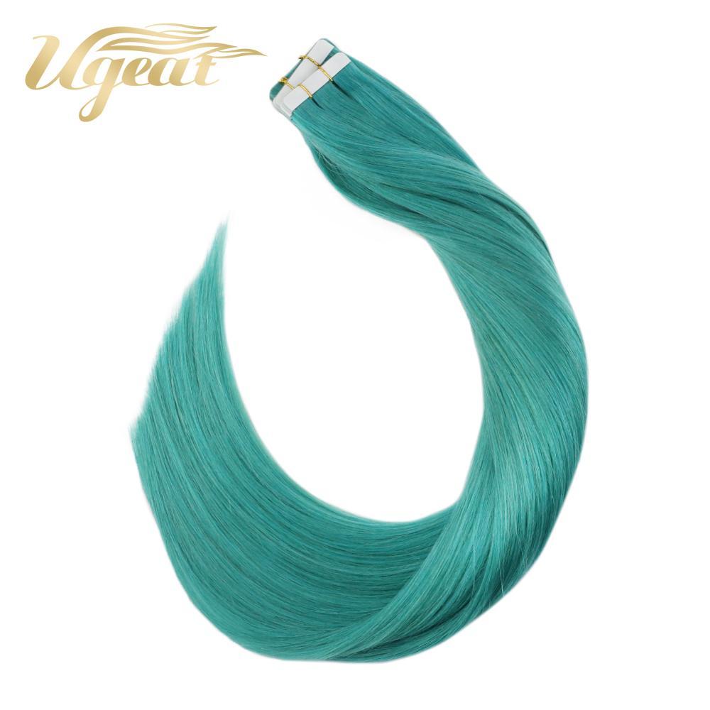 Ugeat волосы для наращивания на ленте, натуральные прямые волосы, 12-22 дюйма, кожа, уток, бесшовные волосы, 10 шт./20 шт./40 шт