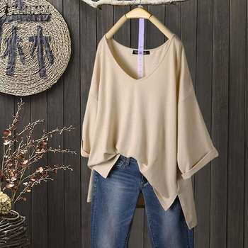 ZANZEA Sommer Bluse Frauen Elegante v-ausschnitt 3/4 Hülse Solide Tunika Tops Lose Beiläufige Split Hem Blusas Femininas Vintage Shirts