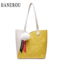 2Pcs/Set Composite Bag Patchwork Leather Women Handbags And Purses Hair Ball Pendant Shoulder Bags Lady Fashion Casual Totes