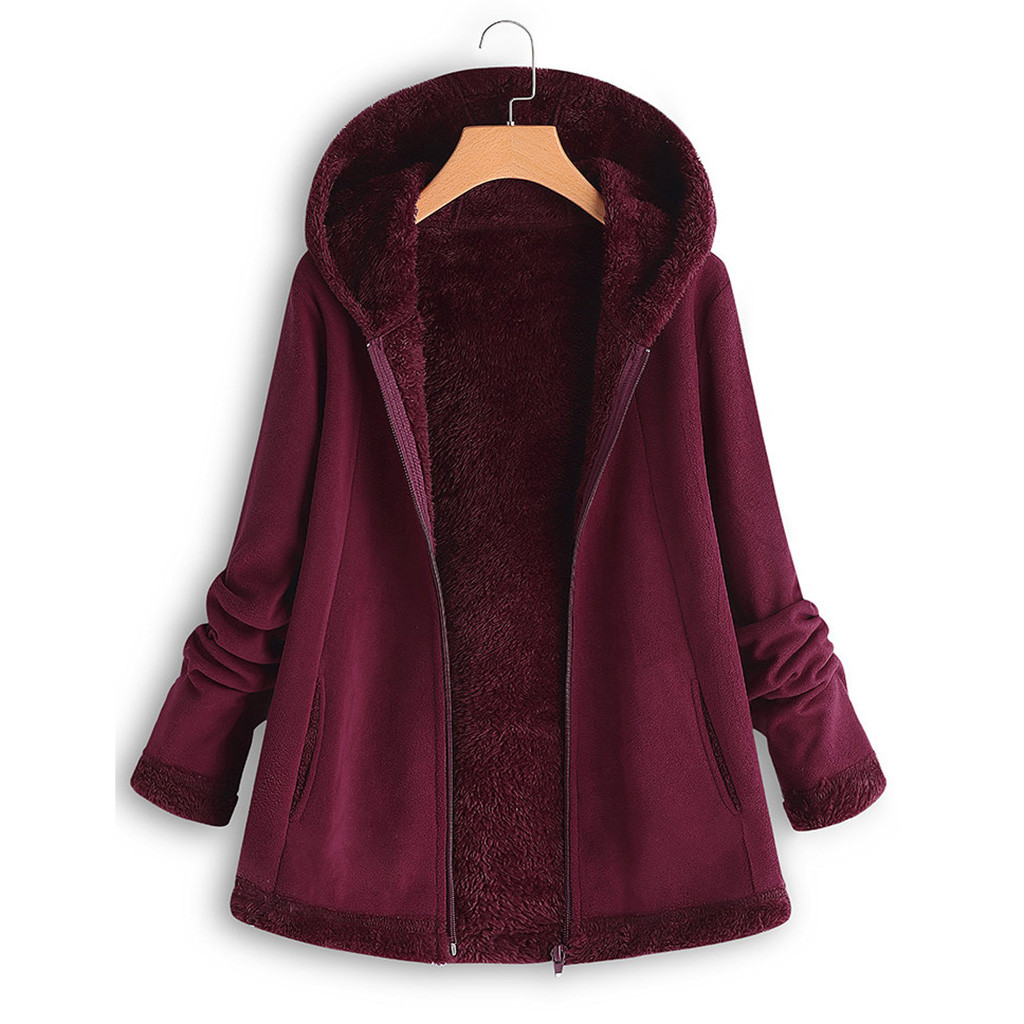 He55c8f49e2724fabace36d01e0493f7d7 women's autumn jacket Winter warm solid Plush Hoodie Coat Fashion Pocket Zipper Long Sleeves outwear manteau femme plus size 5XL
