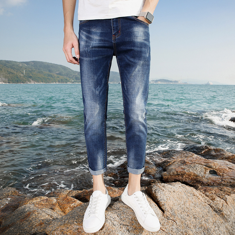 Spring And Autumn Jeans Men's Elasticity Skinny Slim Fit Korean-style Trend Of Fashion With Holes Cat Whisker Men's Casual Capri