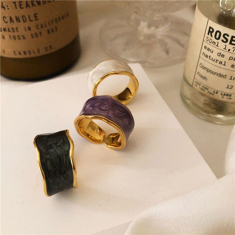 XIYANIKE 925 argent Sterling français Vintage incrusté or jante irrégulière lisse anneau de haute qualité à la main romantique mode Couple 2
