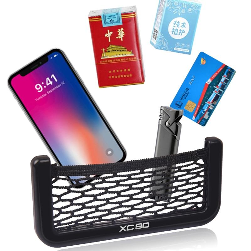 Sac de filet de voiture support pour téléphone rangement organisateur de poche pour VOLVO XC90 Auto accessoires style intérieur