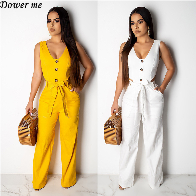 Dower Me Solid Lace Up Hollow Out   Jumpsuit   Romper V-Neck Sleeveless Tank Straight Wide Leg Pants   Jumpsuits   NZ090