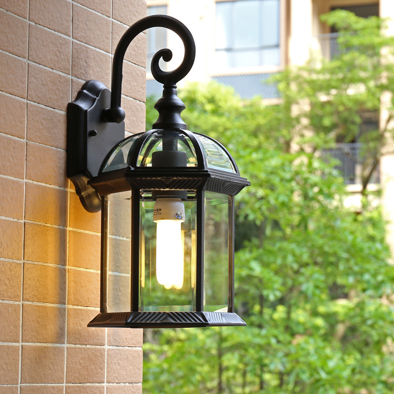 Vintage Wall Lamp Outdoor Porch Light Black Gold LED Garden Aisle Corridor Decorative Light Lighting E27 Outdoor Waterproof