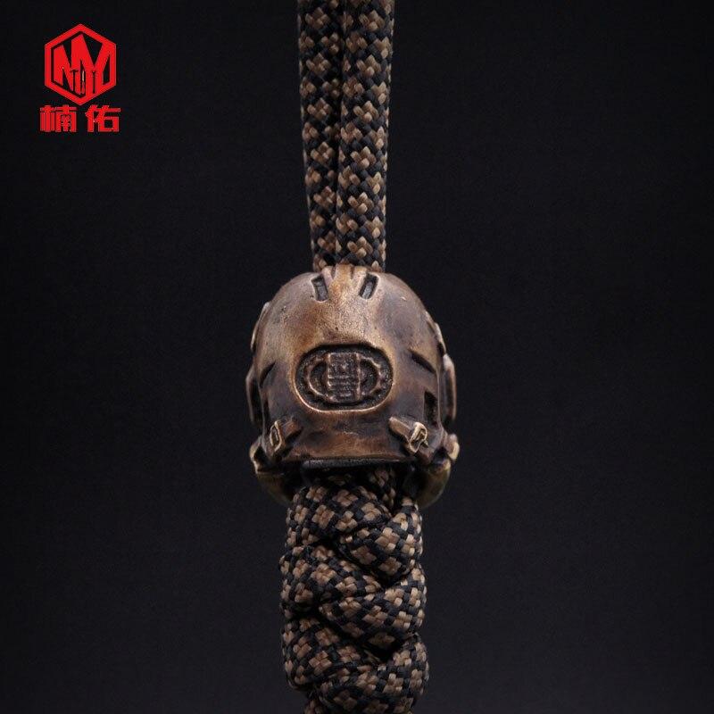 1 pièces Bronze tibétain argent crâne Rugby couteau perles EDC parapluie corde couteau perles manuel collier pendentif à assembler soi-même - 2