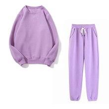 Cotton Suit Hoodies Fleece 2pieces-Sets Women Sweatshirt Full-Length-Pants Autumn Winter