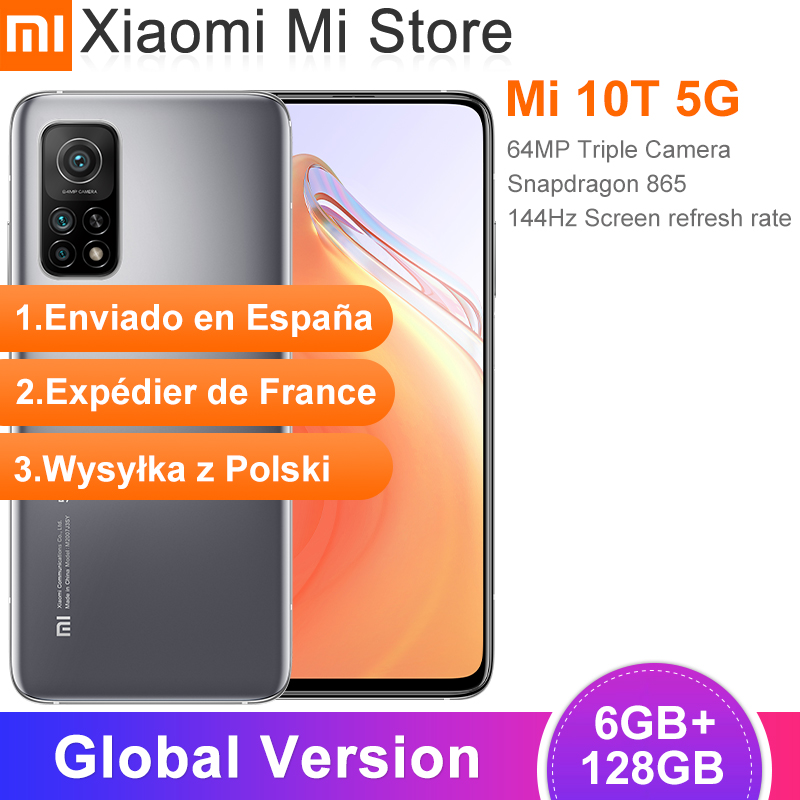"Versión Global Xiaomi Mi 10T 6GB de RAM 128GB ROM Smartphone Snapdragon 865 Octa Core 144Hz 64MP cámara trasera 6,67 ""DotDisplay"