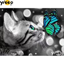 Полноразмерная/круглая алмазная живопись вышивка крестиком кот