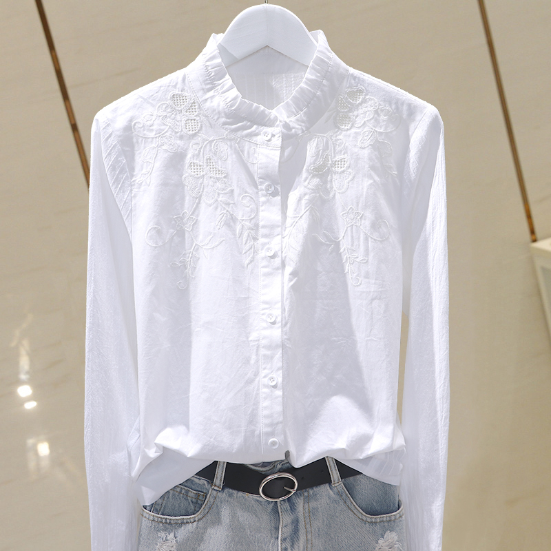 Solid Embroidery Women Shirts 2020 Summer New Solid Long-sleeved Slim Ruffles Ruffles Elegant Shirts Outwear Coat Tops