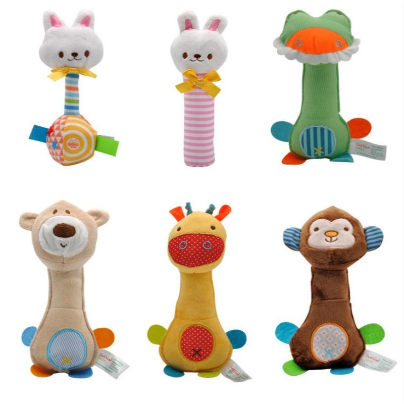 Animals Rattle Hand Bells Baby Bed Soft Toys Sensory Developmental Action Training Toy Newborn Baby Sound Rattles BIBI Stick