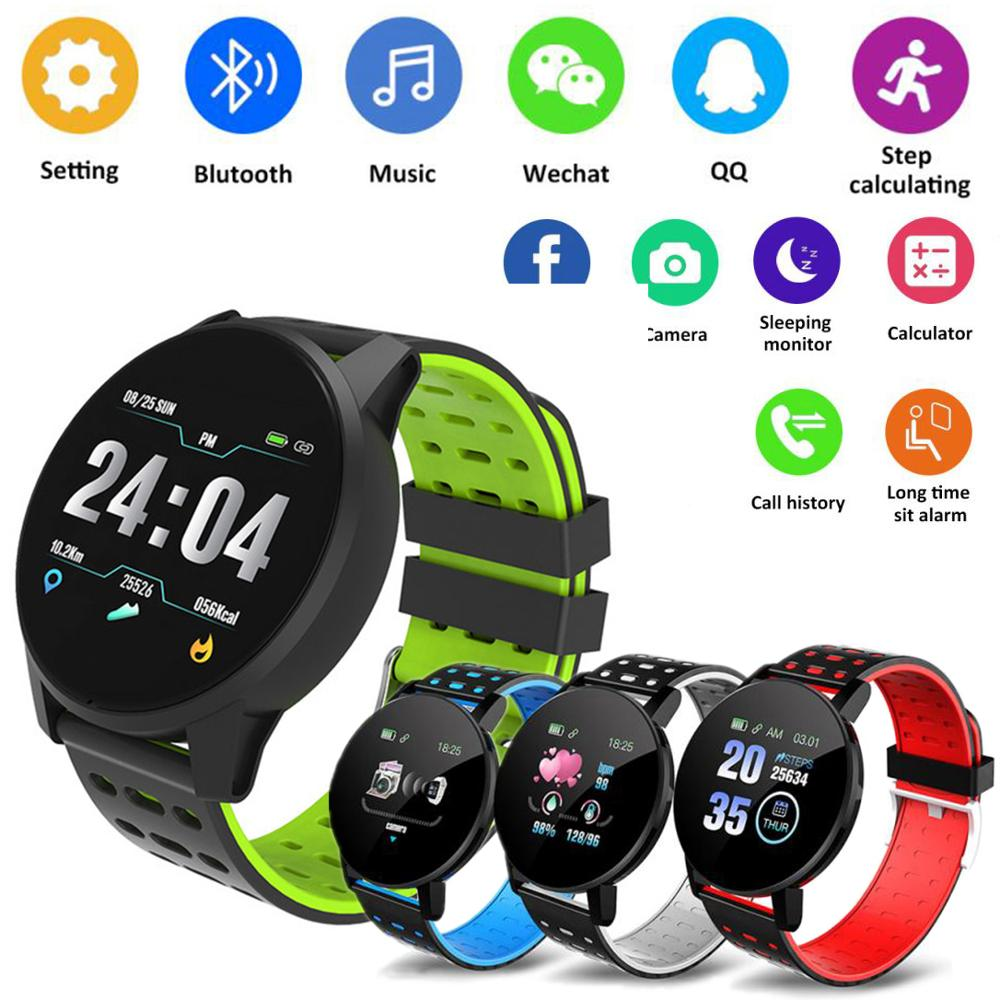 119 Plus Smart Bracelet Heart Rate Smart Watch Man Wristband Sports Watches Band Waterproof Smartwatch Android With Alarm Clock