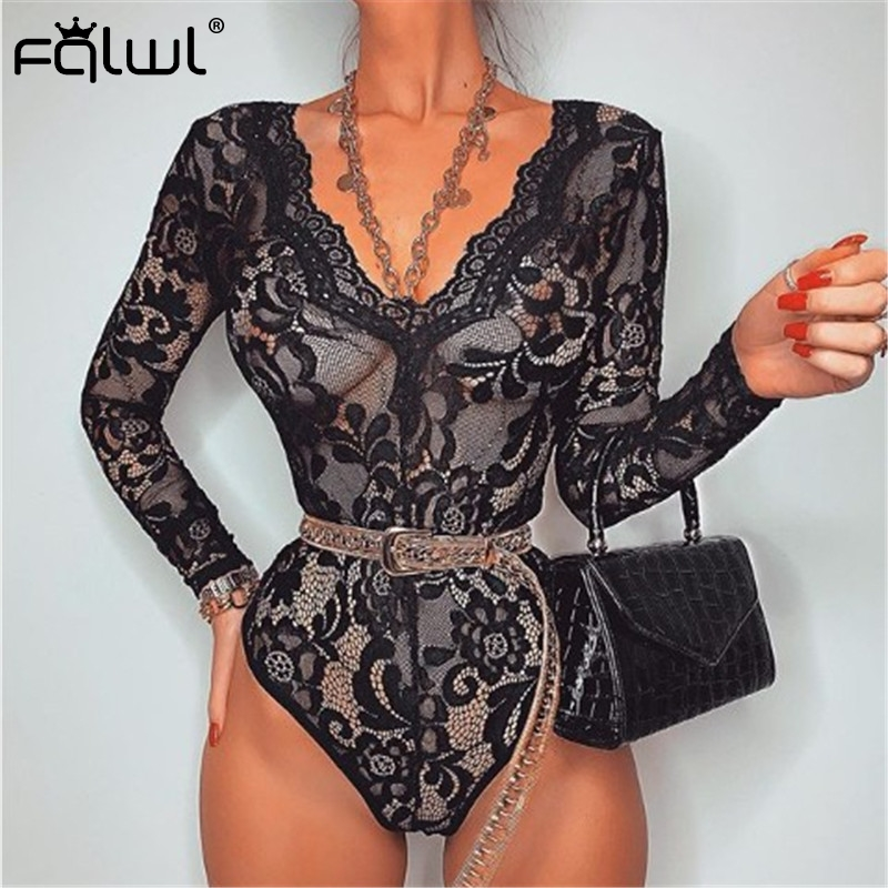 FQLWL Transparent Mesh Lace Sexy Bodysuit Women Romper Tops 2020 Hollow Out V Neck Black Red Long Sleeve Bodycon Bodysuit Female