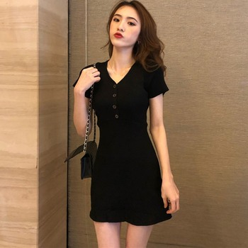 Sexy Knitted Dress Women Solid Color Button Slim Dress Summer Short Sleeve V-Neck Dresses 2020 New